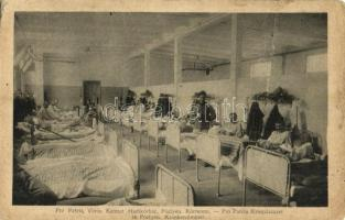 Pöstyén, Pistyan, Piestany; Pro Patria Vöröskereszt Hadikórház, kórterem, K.u.K. katonák / Pro Patria Kriegslazaret, Krankenzimmer / WWI Austro-Hungarian military hospital, room interior, sick and wounded soldiers (Rb)