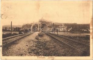 1915 Trencsén, Trencín; látkép, vasúti híd, vár / Trenciansky hrad / general view with railway bridge and castle (EK)