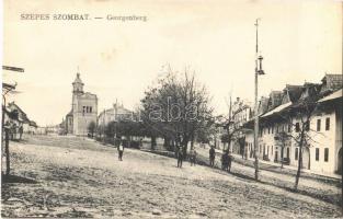 Szepesszombat, Georgenberg, Spisská Sobota; Fő tér, templom. Kiadja Ifj. Kirner Károly / main square, church