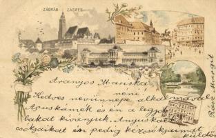 1900 Zagreb, Zágráb; Ezredéves Országos Kiállítás 2Kr. Ga., floral litho / Hungarian Millenium Exposition issue