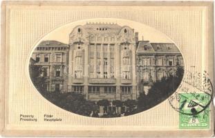 1912 Pozsony, Pressburg, Bratislava; Fő tér, Magyar leszámítoló és Pénzváltó Bank / main square and bank. TCV card (szakadás / tear)
