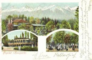 1907 Tátra, Tatry; Poprádi Huszpark, kávéház és étterem. Kiadja Matejka Vilmos 6499. / park with cafe, restaurant (EK)