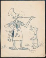Tamás 1938 jelzéssel: Cserkész grafika. Megjelent. Ceruza, papír. Jelzett. 18x14 cm