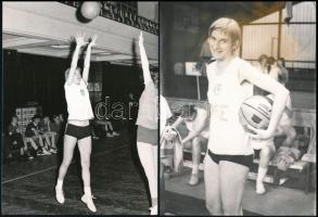 cca 1972 Kosaras fotók, 6 db, közte a dr. Vigyázóné a BSE kosarasának fotóival, változó állapotban, gyűrődéssel, 18x13 cm és 13x9 cm közötti méretben.