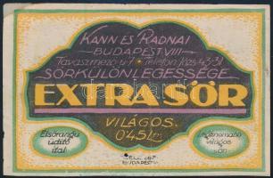 Kann és Radnai Extra sör sörös címke