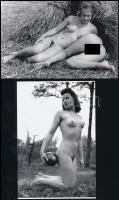 cca 1939 Szolidan erotikus felvételek Fekete György (1904-1990) budapesti fényképész hagyatékából, 2 db mai nagyítás, 10x15 cm