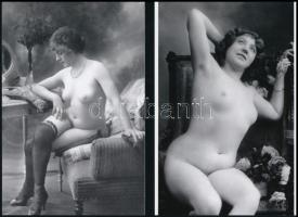 cca 1925 Párizsi hölgyek, Demeter Károly (1892-1983) párizsi korszakából való szolidan erotikus felvételek, 4 db mai nagyítás, 15x10 cm