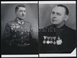 cca 1944 Katona és pap kitüntetésekkel, a kiskunfélegyházi Marika fotóműterem hagyatékából 2 db mai nagyítás, 15x10 cm