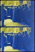 cca 1930 Horthy Miklós kormányzó fogadása, vintage negatív egy korabeli 36 mm-es mozifilmhíradó negatív tekercséből, 9db negatív a filmszalagon, 18x24 mm, összesen 17x3,6 cm