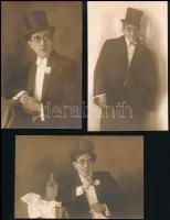 1929-1930 Nyitra, bál előtt - bál után, 3 db mókás fotólap, 9×13,5 cm