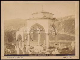 cca 1900 Török mauzóleum Szarajevóban, keméynhátú fotó Schädler műterméből, 12×16 cm