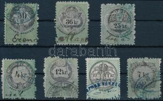 1868 7 klf okmánybélyeg, mindegyik papírránccal / 7 different fiscal stamps with paper crease