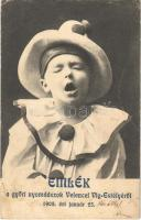 1908 Győr, Emlék a győri nyomdászok Velencei Víg-Estélyéről január 25-én. Bohóc kisfiú, reklám (ázott sarok / wet corner)