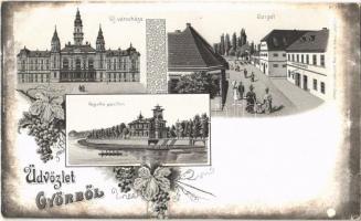 Győr, Új városháza, Sziget, Regatta pavilon. Szőlős szecessziós lap. Mehner & Maas No. 3687. Art Nouveau, floral, litho
