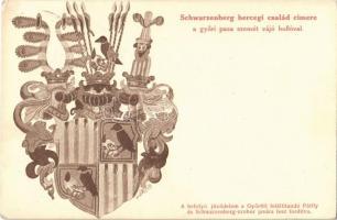 Győr, Schwarzenberg hercegi család címe a győri pasa szemét vájó hollóval. Segélylap a Pálffy és Schwarzenberg szobor javára + 1940 Nagyvárad visszatért So. Stpl