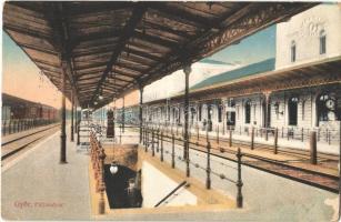 1916 Győr, pályaudvar, vasútállomás, faszerkezetes váró a vágányokkal, vonat (EK)