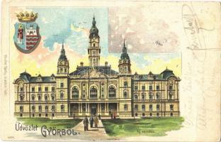 1902 Győr, Új városháza, címer. Röszler Károly litho (fa)