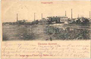 1902 Győr, Vagongyár. Mandausz János kiadása (EK)