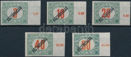 1919 Köztársaság portó ívszéli vágott sor 5 érték / Postage due Mi 47-51 imperforate margin set
