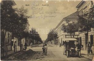 1908 Győr, Árpád út, Piczek György, Winter, Farnadi üzlete, automobil. W. L. 2079. (felületi sérülés / surface damage)