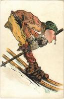1909 Skiing. Winter sport art postcard, litho (EK)