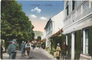 Gorazde, street view with shops and soldiers