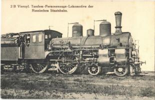 2 B Vierzyl. Tandem-Personenzugs-Lokomotive der Russischen Staatsbahn / locomotive of the Russian state railways