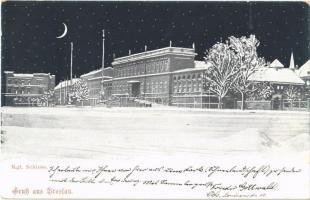 1898 Wroclaw, Breslau; Kgl. Schloss / castle in winter at night (EK)