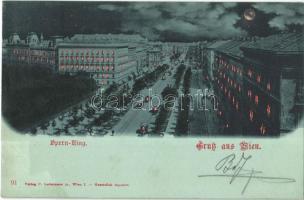 1899 Wien, Vienna, Bécs; Opern-Ring / street at night