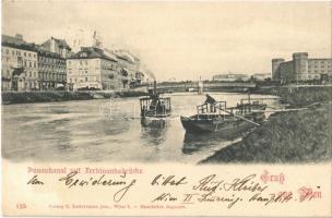 1898 Wien, Vienna, Bécs; Donaukanal mit Ferdinandsbrücke / Danube and bridge, ships, Cafe Herzog