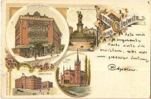 1898 Gliwice, Gleiwitz; Germania Restaurant und Denkmal, Infanterie Kaserne, Evangl. Kirche / restaurant, monument, infantry barracks, church. R. Schönwolff Art Nouveau, floral, litho (EK)