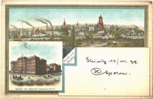 1898 Gliwice, Gleiwitz; Kaserne des Infanterie Regiments No. 22. / infantry barracks, iroworks. M. Krimmer Art Nouveau litho