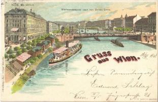 1898 Wien, Vienna, Bécs; Stephaniebrücke uber den Donau Canal / bridge over the Danube, Hotel Metropole. Henri Schlumpf litho