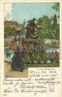 1900 Wien, Vienna, Bécs; Aus dem Volksgarten / park. Karl Stücker 7231. litho s: Rosenberger