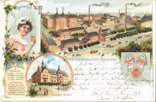 1899 Berlin, Neukölln (Rixdorf); Vereinsbrauerei, Berliner Kindl, Ausschank / brewery, beer, restaurant. D. dreyfuss Art Nouveau, floral, litho (EK)