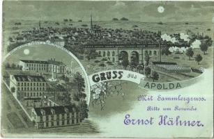 1898 Apolda, Wollwaaren-Fabrik v. W. Flachsbarth / viaduct with locomotive, Wool factory, night. Fr. Gebhardt Art Nouveau, floral, litho