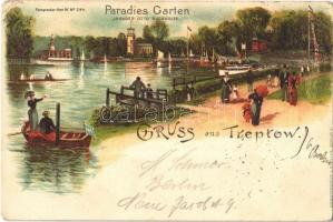 1898 Berlin, Treptow Paradies Garten / park. Kunstanstalt J. Miesler litho (EK)