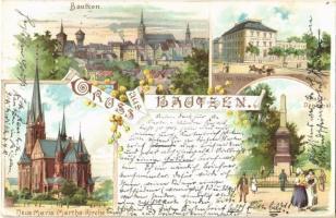 1899 Bautzen, Hotel Gude, Krieger Denkmal, Neue Maria Martha Kirche / hotel, military heroes monument, new church. Art Nouveau, floral, litho