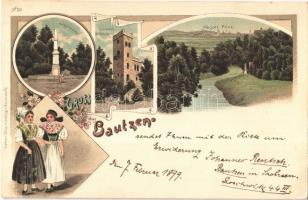 1899 Bautzen, Abgott Flinz, Kriegerdenkmal, Czorneboh Aussichtsturm / military heroes monument, lookout tower, folklore. Winkler & Voigt Art Nouveau, floral, litho