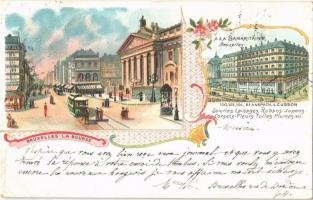 1900 Bruxelles, Brussels; La Bourse, A la Samaritaine / stock exchange, horse-drawn tram. J. Haly Art Nouveau, floral, litho (EK)