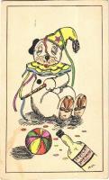Kézzel rajzolt Bozo kutya bohóc jelmezben / Bozo dog in clown costume with Scotcat Whiskhi. Hand-drawn art postcard s: M.Cs. (EK)