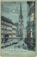 1899 Wien, Vienna, Bécs; Stefanskirche v. Graben, Zahnartzt. Verlag von G. Rüger & Co. / church, trams, dentist, shops, New York, night. Hold to light litho (EK)