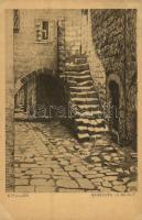 Gässchen in Beirut. Aus dem Buche Erez Israel und sein Volk Verlag von B. Harz / Jewish street in Beirut. Judaica art postcard s: E. M. Lilien