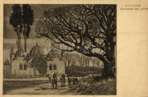 Brunnen bei Jaffa. Aus dem Buche Erez Israel und sein Volk Verlag von B. Harz / Jewish fountain. Judaica art postcard s: E. M. Lilien (fl)