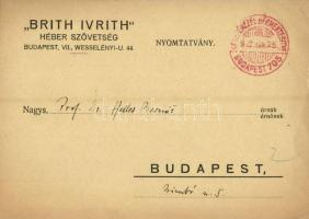 1932 Brith Ivrith Héber Szövetség meghívója. Budapest VII. Wesselényi u. 44. / Invitation of a Hungarian Jewish Hebrew Society (EK)