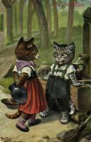 1911 Erst einen Kuss / Cats. T.S.N. Serie 975. (6. Dess.) s: Arthur Thiele (worn corners)