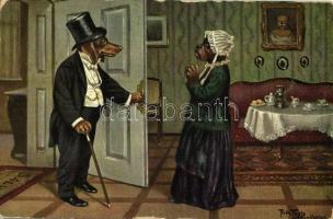 1912 Guten Morgen, mein Liebchen. Nach Vautier / Dog gentleman. T.S.N. Serie 1128. s: Arthur Thiele (EK)