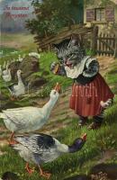 1910 In Tausend Aengsten / Cat girl. T.S.N. Serie 975. s: Arthur Thiele (EK)