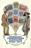 1911 Wien, Internationale Postwertzeichen Ausstellung / International postage stamp exhibition in Vienna. Philately Art Nouveau postcard s: H. Kalmsteiner