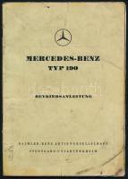Mercedes-Benz TYP 190 német nyelvű használati útmutató, koszos, 52p